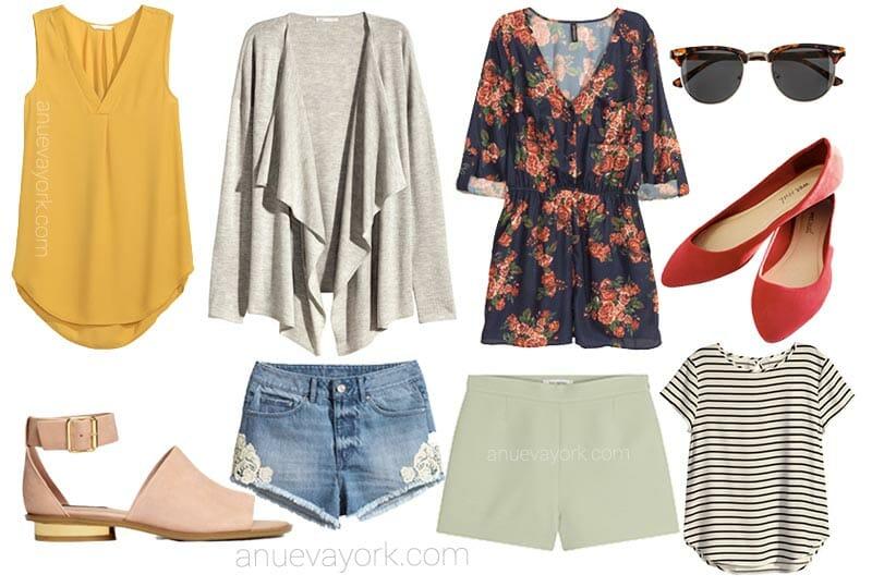 Qué ropa llevar en Nueva York en verano Ropa ligera, clara y transpirable. Es decir, camisetas de manga corta, camisas finas, pantalón corto, shorts o faldas (o, si llevas pantalón largo, que sea de tela fina), vestidos.